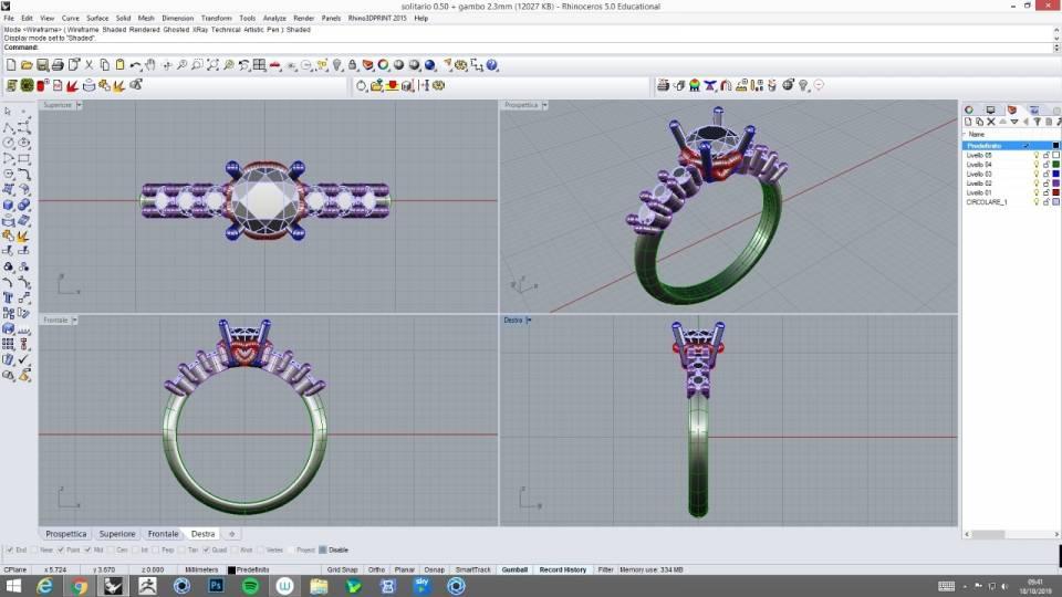 progettazione 3d gioielli laboratorio orafo vimercate